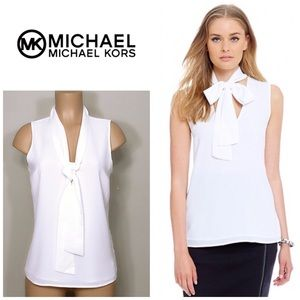 Michael Kors self tie white top. NWT